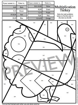 Fall Thanksgiving Activity Pop Art Math Coloring Sheets Tpt - Turkey-math-coloring-pages