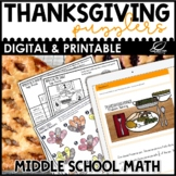 Thanksgiving Math for Middle School Mini Bundle | Digital