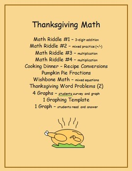 Thanksgiving Math - riddles, fractions, word problems, graphing and more