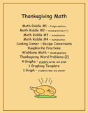 Thanksgiving Math - riddles, fractions, word problems, gra