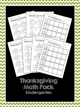 Thanksgiving Math - sequencing, missing number, counting on, & tens frames