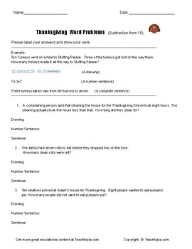 Thanksgiving Math word problems. Subtraction from 10.