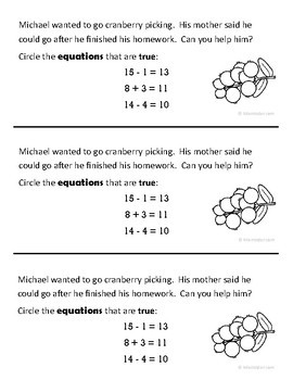Thanksgiving Math Journal Prompts (1st grade) - Common Core