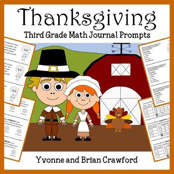 Thanksgiving Math Journal Prompts (3rd grade) - Common Core