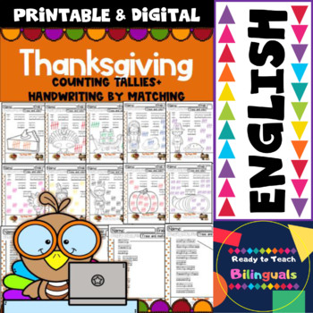 Thanksgiving Maths Centers (6 different Parts for Pre-k to 1st Grade)