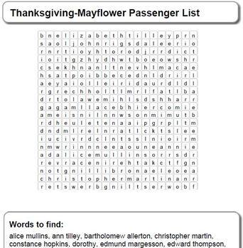 Thanksgiving-Mayflower Passenger List Word Search