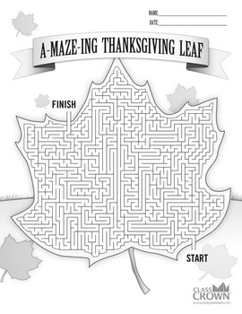 Thanksgiving Maze Puzzle A Maze Ing Thanksgiving Leaf By