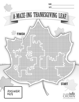Thanksgiving Maze Puzzle - A-MAZE-ING Thanksgiving Leaf