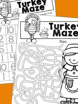 Thanksgiving Activities - Mazes {Alphabet, Number, & Fun Mazes}