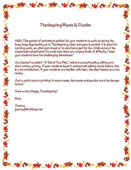 Thanksgiving Mazes & Puzzles