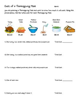 Thanksgiving Meal Adding Decimals