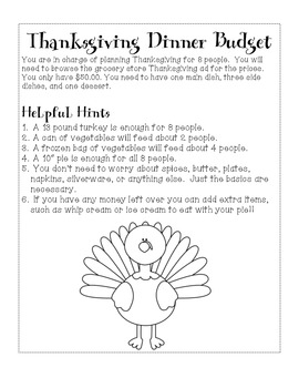 Thanksgiving Meal Math