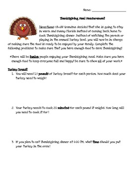 Thanksgiving Meal Measurement Activity