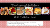 Thanksgiving Meal Menu with Pictures & Editable Text