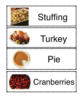 Thanksgiving Meal Picture Cards