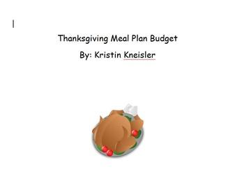 Thanksgiving Meal Plan Budget