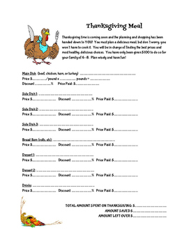 Thanksgiving Meal Planning Activity
