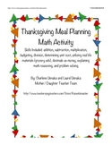 Thanksgiving Meal Planning and Budgeting Math Activity