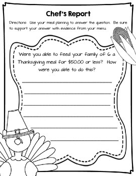 Thanksgiving Meal Project Based Learning