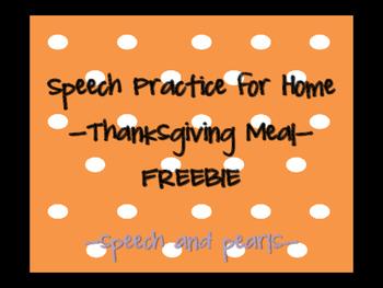 Thanksgiving Meal Speech Homework FREEBIE