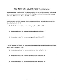 Thanksgiving Math Word Problems Activity: Mean, Median, Mode, and Range
