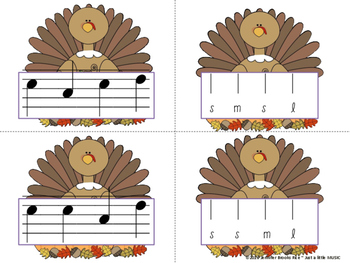 Thanksgiving Melody Matching--A stick to staff notation game {sol mi la}