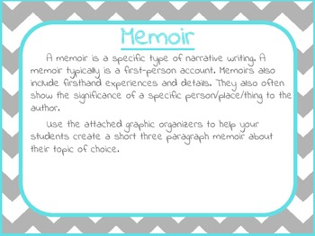 I'm Thankful For: Memoir writing activity with graphic organizers