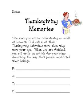 Thanksgiving Memories Interview Activity