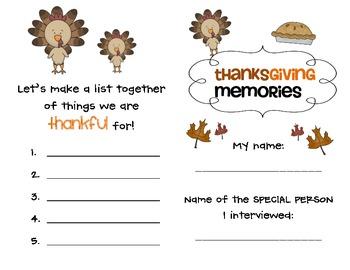 Thanksgiving Memories Interview - 2nd Grade