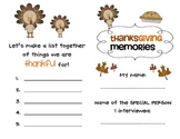 Thanksgiving Memories Interview- 1st grade