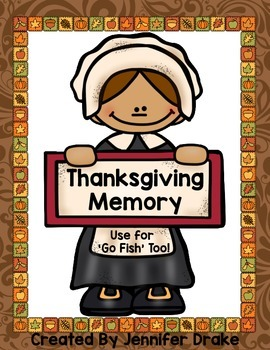 Thanksgiving Memory & Go-Fish Game Cards!  Great Center or Holiday Game! PreK-1!