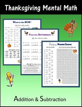 Thanksgiving Mental Math (Addition & Subtraction)