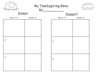 Thanksgiving Menu!