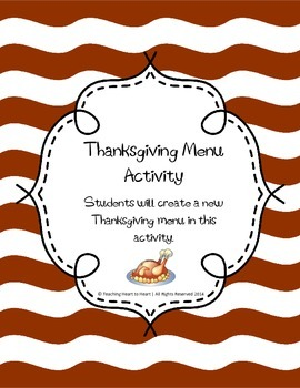 Thanksgiving Menu Activity