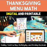 Thanksgiving Menu Math {Digital and Printable}