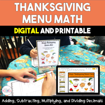 Thanksgiving Menu Math - 5th and 6th
