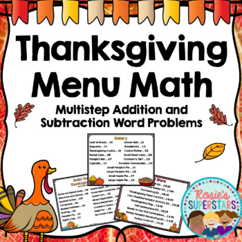 Thanksgiving Menu Math: Multistep Addition and Subtraction