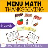 Thanksgiving Menu Money Math Task Cards {Autism; Special Ed}