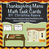 Thanksgiving Menu Money Math Task Cards {Autism; Special Ed}