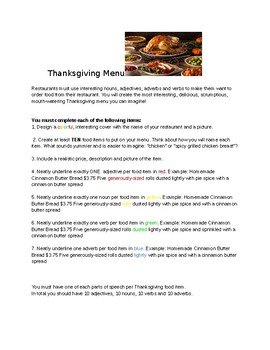 Thanksgiving Menu Parts of Speech