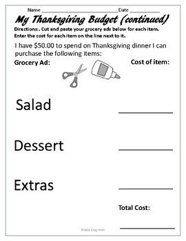 Thanksgiving Menu Planning on a Budget Project