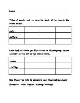 Thanksgiving Menu Writing Activity