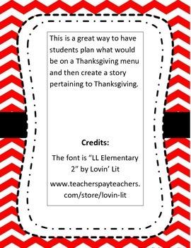 Thanksgiving Menu Writing plan