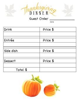 Thanksgiving Menu and Guest check Math