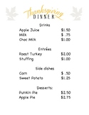 Thanksgiving Menu and Guest check Math