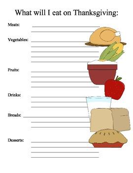 Thanksgiving Menu...Writing Center Printable