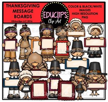 Thanksgiving Message Boards Clip Art Bundle {Educlips Clipart}