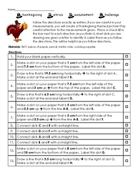 Thanksgiving Metrics Measurement Challenge: Following Directions  Activity!