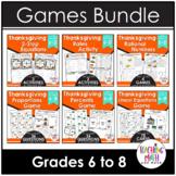 Thanksgiving Middle School Math Activities & Games BUNDLE