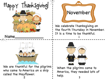 Thanksgiving Mini Book and Coloring Pages